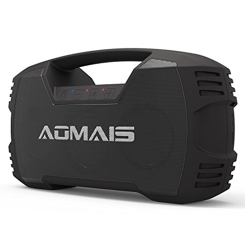 AOMAIS GO Bluetooth Speakers,Portable Indoor/Outdoor 30W Full Volume Wireless Stereo Pairing Home Theater Systems Waterproof,Booming Bass with Power Bank,Durable for Pool Party,Beach,Camping(Black)