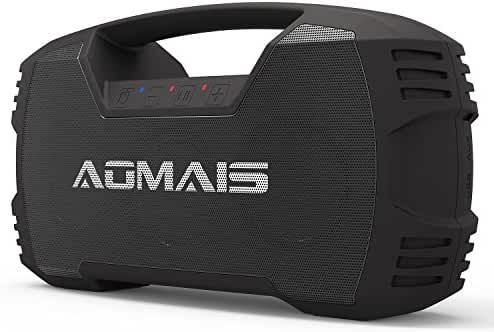 AOMAIS GO Bluetooth Speakers,Portable Indoor/Outdoor 30W Full Volume Wireless Stereo Pairing Speaker IPX7 Waterproof,Booming Bass with Power Bank,Durable for Pool Party,Beach,Camping,Hiking(Black)