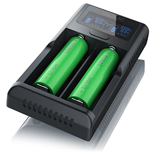 Aplic USB Lithium Akku-Ladegerät, Universale Akku Ladestation, Recharger, Mikroprozessorgesteuerte Ladetechnologie, LCD…