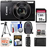 Canon PowerShot Elph 360 HS Wi-Fi Digital Camera (Black) with 32GB Card + Case + Battery + Tripod + Kit For Sale