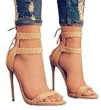 Dellytop Women's Ankle Strap Open Toe Weaving Stiletto Heel Dress Sandals