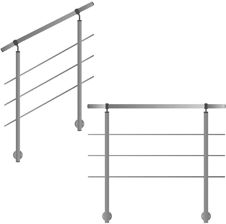 Barandilla para montaje lateral en escaleras balcones y terrazas con puntales horizontales.: Amazon.es: Bricolaje y herramientas
