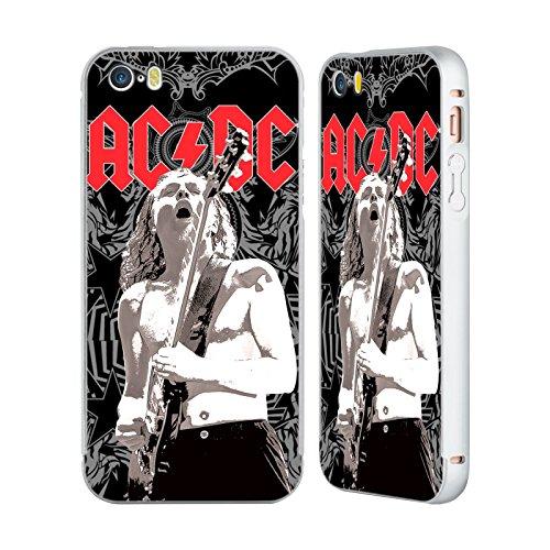 Officiel AC/DC ACDC Angus Young Ornement Solo Argent Étui Coque Aluminium Bumper Slider pour Apple iPhone 5 / 5s / SE