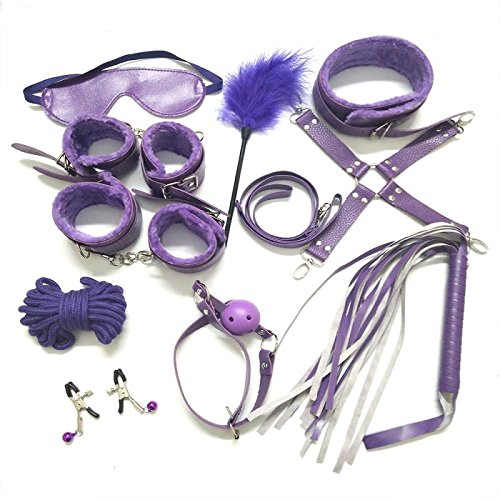 Senswalan 10 Piece Bed Restraints Kit 4 color to choose with Adjustable Fur Leather Wrist Cosplay for adult (purple)