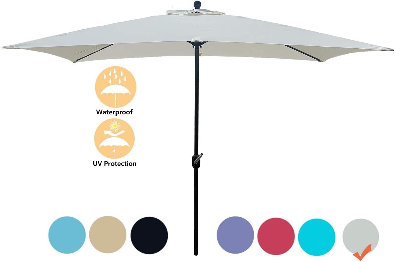 Jadada Rectangular Patio Umbrella Outdoor Market Table Umbrella with Crank Handle, 6.5 by 10 Ft White