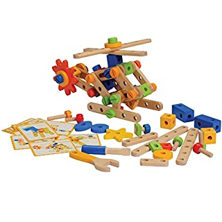 Constructive Playthings Wood Nut and Bolt Builder with Activity Cards for Kids, STEM Approved Educational Learning Toy, 18 Piece Set