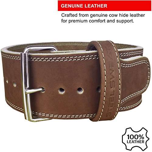 Steel Sweat Weight Lifting Belt - 4 Inches Wide by 10mm - Single Prong Powerlifting Belt That's Heavy Duty - Vegetable Tanned Leather - Hyde Large by Steel Sweat (Image #4)