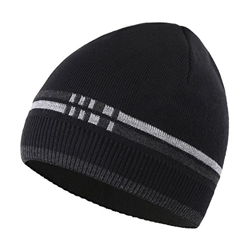 Connectyle Outdoor Basic Men's Daily Warm Winter Hats Thick Knit Beanie Cap With Lining Skull Cap (Skull Xxl Cap)
