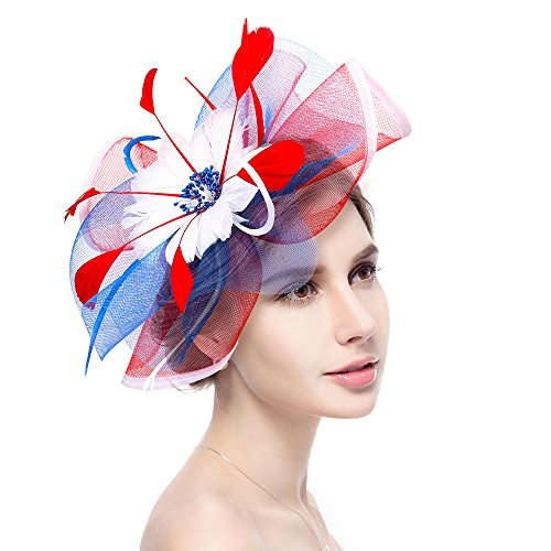 Fascinator Hat Jack & Rose Flower Feather Net Mesh Kentucky Derby Tea Party Headwear with Hair Clip and Hairband for Women or Girls (Flag Color)