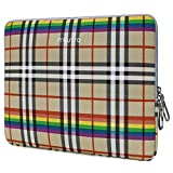 MOSISO Laptop Sleeve Compatible with 13-13.3 Inch MacBook Air/MacBook Pro Retina/Surface Laptop 2 2018 2017/Surface Book, PU Leather Super Padded Bag Waterproof Protective Case, Beige Rainbow Plaid