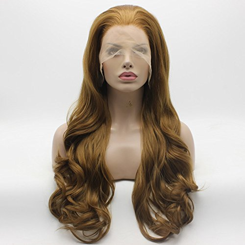 Lace Front Synthetic Wig Wavy Long 26inch Honey Blonde Wig Full Heavy Density Half Hand Tied Heat Friendly Stylish Wigs ()