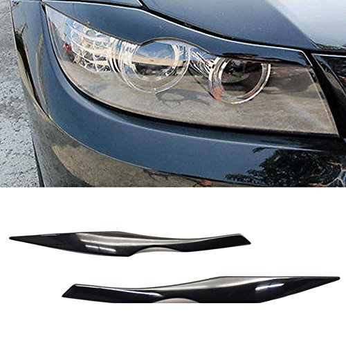 Headlight Eyelids - Eyelid Fits 2006-2011 BMW 3 Series E90 | Unpainted Black ABS Front Headlight Eyebrow Eyelid Cover Other Color Available By IKON MOTORSPORTS | 2007 2008 2009 2010