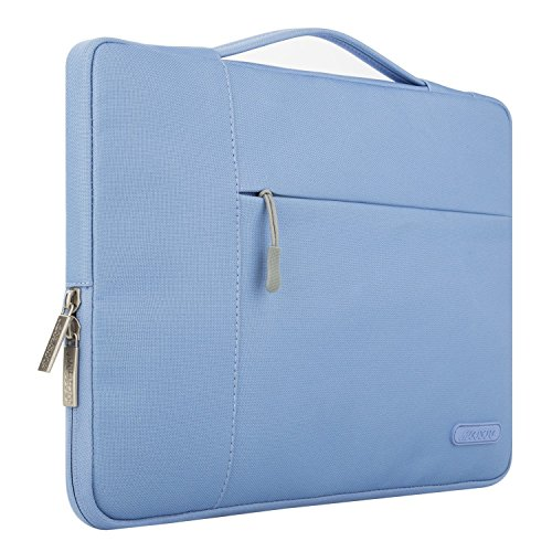 MOSISO Laptop Briefcase Handbag Compatible 13-13.3 Inch MacBook Air, MacBook Pro, Notebook Computer, Polyester Multifunctional Carrying Sleeve Case Cover Bag, Serenity Blue