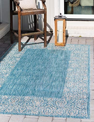 Unique Loom Outdoor Border Collection Traditional Floral Border Transitional Indoor and Outdoor Flatweave Light Aqua Area Rug 9 0 x 12 0
