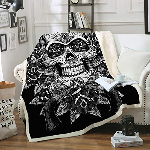 "Sleepwish Sugar Skull Blanket, Comfort Warmth Soft Cozy Air conditioning Machine Wash, Black and White, Rose Skull Sherpa Fleece Blanket (Throw 50""x60"")"