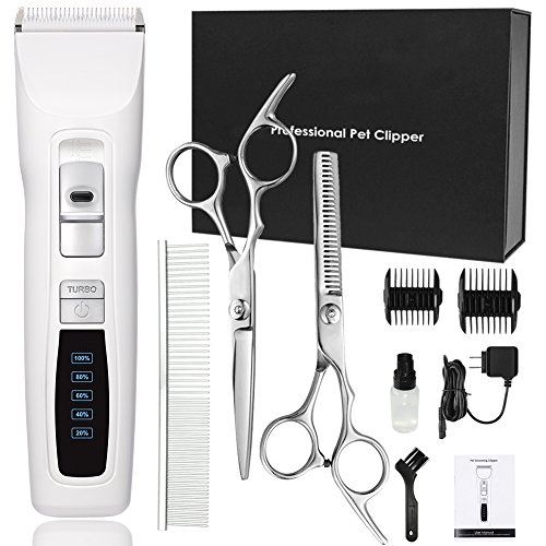 Dog Clippers Professional Heavy Duty 2-Speed Turbo Dog Grooming Clippers Kit for Thick Coats White Pet Clippers for Dogs Cats Horses with LED Power Indication Low Noise (White)
