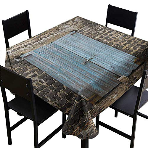 dsdsgog Washable Tablecloth Rustic,Stone Wall of Dated Closed Barn Gothic Medieval European Urban City Town Scenery,Blue Grey 50