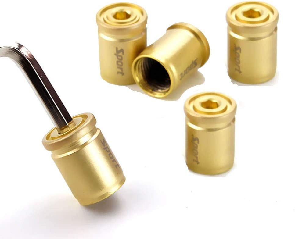 XuXuauto Car Tire Valve Stem Caps(5pcs) Anti-Theft Bullet shell Dust-proof Fashion Sport Wheel Tyre Stem Air Cover Gold