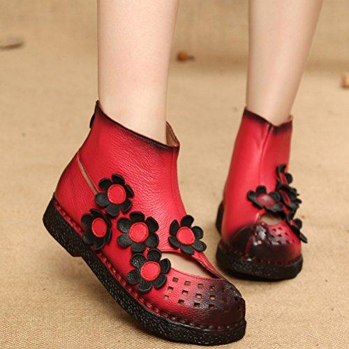 Mordenmiss Womens New Chunky Hollow Boots Sandali Piatti Estivi Con Cerniera Stile 3 Rosso