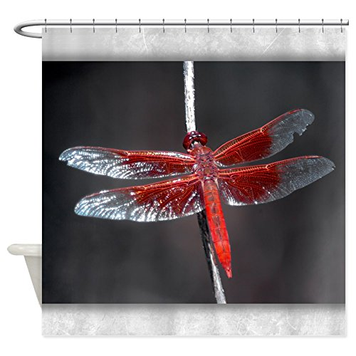 Shower Curtain Red Flame Dragonfly