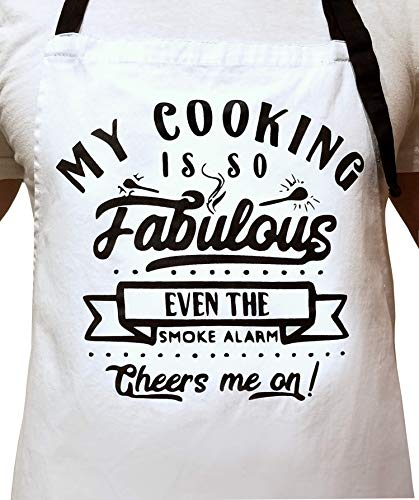 MY COOKING IS SO FABULOUS EVEN THE SMOKE ALARM CHEERS ME ON -100% Cotton Thick White Apron with 2 Tone Black Pockets - Adjustable Strap - Unisex - Great for Outdoor/Indoor Cooking - Perfect Funny Gift