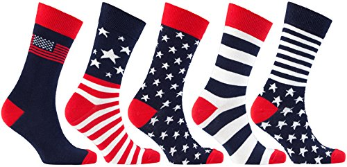 Socks n Socks-Men's 5-pair Cotton Patriot USA American Flag Socks Gift - Fashion Flag American