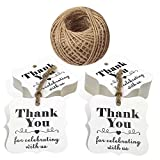 100 PCS Kraft Paper Tags with''Thank You for Celebrating with Us'' Printed,Polygon Kraft Paper Gift Hang Tags with 100 Feet Jute Twine (White)