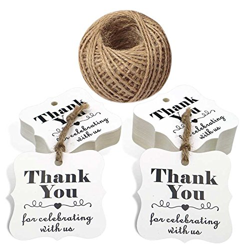 100 PCS Kraft Paper Tags with''Thank You for Celebrating with Us'' Printed,Polygon Kraft Paper Gift Hang Tags with 100 Feet Jute Twine (White) by jijAcraft