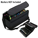 BTSKY Handy 80 Slot Carrying Lipstick Organizer Marker Case Holder for Primascolor Marker and Copic Marker--Fits for Markers Pen from 15mm to 22mm Diameter (Black)