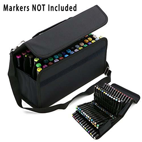 BTSKY Handy 80 Slots Carrying Lipstick Organizer Marker Case Holder for Copic Prismacolor Touch Spectrum Noir Paint Sharpie Markers (Black)