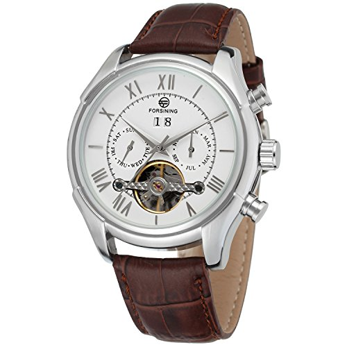 Forsining Men's Automatic Day Calendar Luxury Leather Band Dress Wrist Watch FSG583M3S2