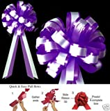 your_perfect_gifts DARK PURPLE WHITE WEDDING 8'' PULL PEW BOWS BRIDAL DECOR