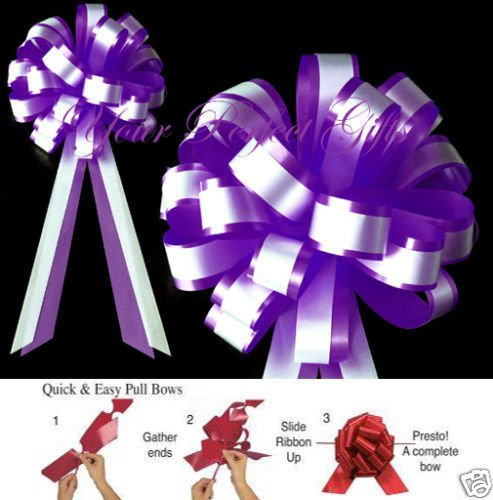 your_perfect_gifts DARK PURPLE WHITE WEDDING 8'' PULL PEW BOWS BRIDAL DECOR by your_perfect_gifts