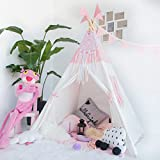 HAN-MM Kids Teepee Tent Set With Mat - 4 Wooden Poles Indian Playhouse for Children for Indoor or Outdoor Play. Durable Cotton Canvas Fabric.No Trouble to Choose Another Mat.Pink Splice