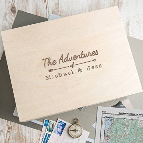 Personalized Wooden Keepsake Box - Anniversary or Engagement Gifts for Couples -