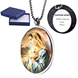 Comfybuy Church Virgin Mary Mother of Jesus Medal Dome Necklace Pendant Free Engraving Customized Personalized Prayers Blessed Gift For Mother,Daughter,Wife,Girlfriend