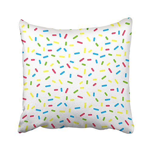 Emvency Decorative Throw Pillow Covers Cases Ice Colorful Donuts Glaze Sprinkle Topping Bakery Abstract Food Cream Candy Granules Cake 16x16 inches Pillowcases Case Cover Cushion Two Sided -