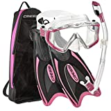 Cressi Palau Traveling Premium Snorkel Set, Panoramic Wide View Adult Diving Snorkeling Mask, Desert Dry Snorkel, Adjustable Fins, Travel Gear Bag - Metallic Pink - Medium/Large
