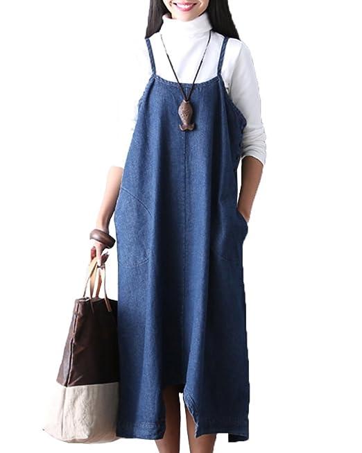 ZhuiKunA Petos para Mujeres Chicas Denim Vestimenta Vestidos Monos Pantalones - Dos Métodos Azul S