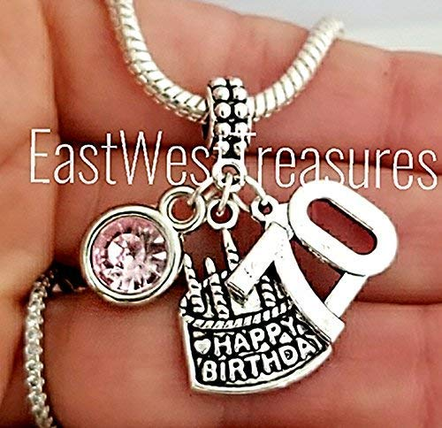 EWT Custom Personalized custom Birthstone 70 70th birthday Charm Pendant - Charms For bracelet or necklaces - 70th gift for women her