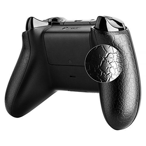Textured Lacquer (eXtremeRate Crackle Black Right Left Effect Textured Back Panel Side Rails Handle Mod for Xbox One Controller)