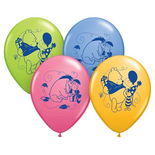"Qualatex 12"" Round Latex Balloons Officially Licensed Winnie The Pooh Happy Birthday, 6-Count"
