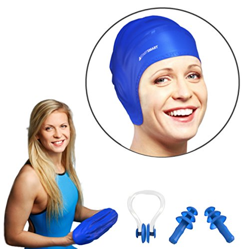 Start Smart Silicone Swim Cap For Long Hair PLUS Nose Clip and Ear Plug Set