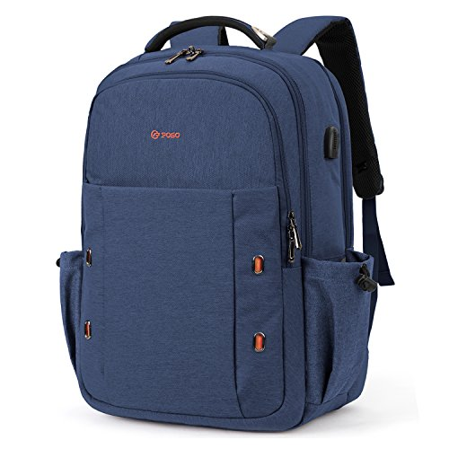 Srotek Travel Laptop Backpack Water Resistant Business Computer School Bag Backpack with USB Charging Port for Men & Women Fits Most 17.3 Inch Laptops & Notebook,Navy Blue by Srotek