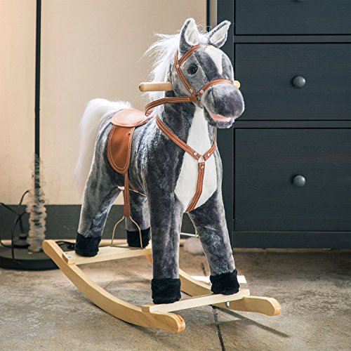 (Kintness Baby Kids Toy Plush Wooden Rocking Horse Boy Riding Rocker with Sound Dark Blue Grey Baby Kids Toy Plush Wooden Rocking Horse Boy Riding Rocker with Sound Dark Blue Grey (Large))