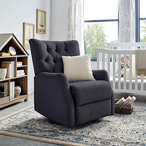 Classic Brands Cynthia Popstitch Upholstered Glider Swivel Rocker Chair, Charcoal (Century Glider Mid)