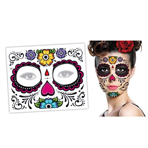 2 Sheets Halloween Face Tattoo Sticker Glitter Red Roses Day of The Dead Sugar Skull Temporary Tattoo for Adult Women Men Kids Mexican Halloween Party Favor Supplies Face Mask Tattoo Stickers (A)