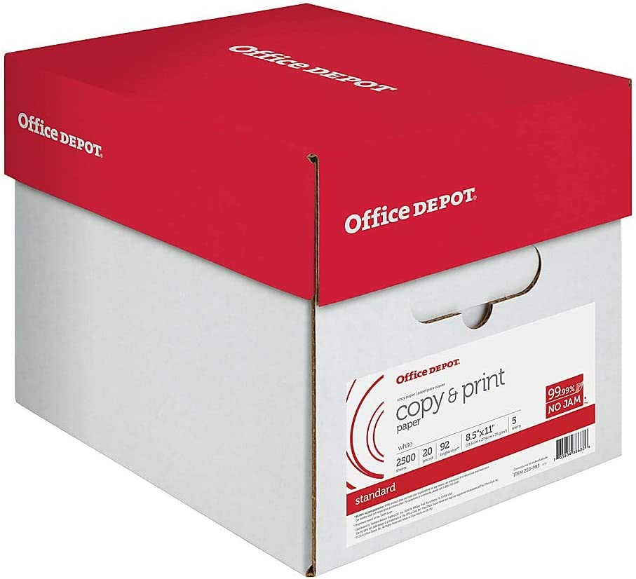 Office Depot Copy Print Paper, 8 1/2in. x 11in, 20 Lb, 500 Sheets Per Ream, Case of 5 Reams, 851201CS