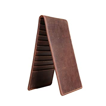 Wei Hong Home Money Clips Money Clip Mens Wallet Long Wallet Mens Wallet Color : Reddish Brown, Size : 19101.5cm