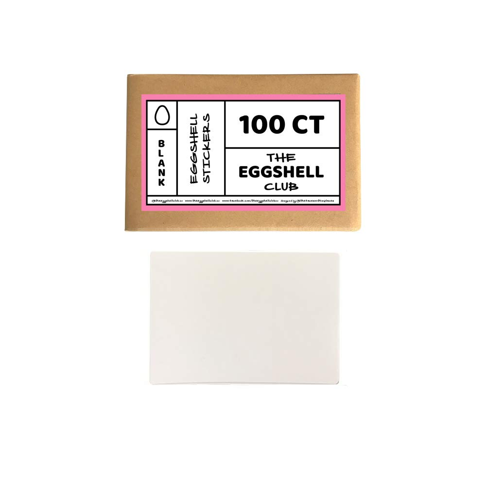White | Premium Eggshell Sticker Blanks | 100 Pack | Sun-Proof UV Ink | Weather Resistant | Quick & Easy Peel